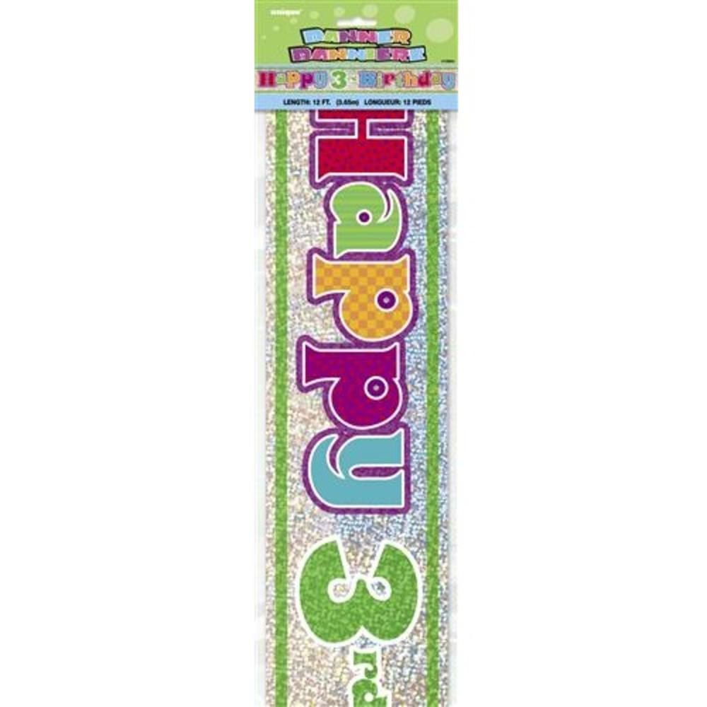 Happy 3rd Birthday 12ft Party Banner