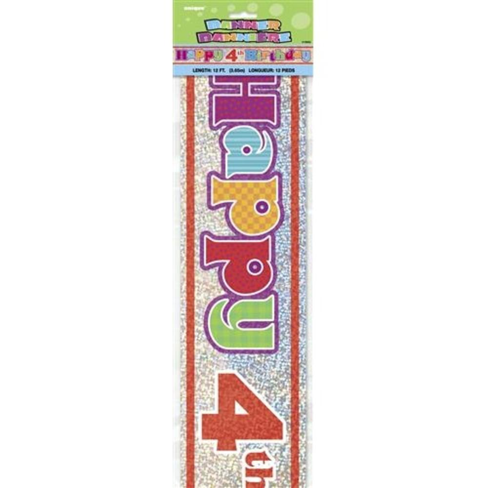 Happy 4th Birthday 12ft Party Banner