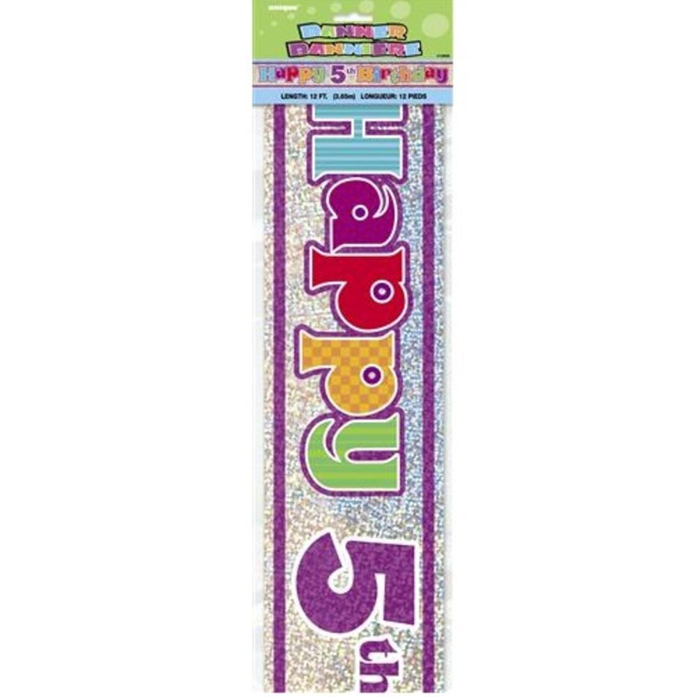 Happy 5th Birthday 12ft Party Banner
