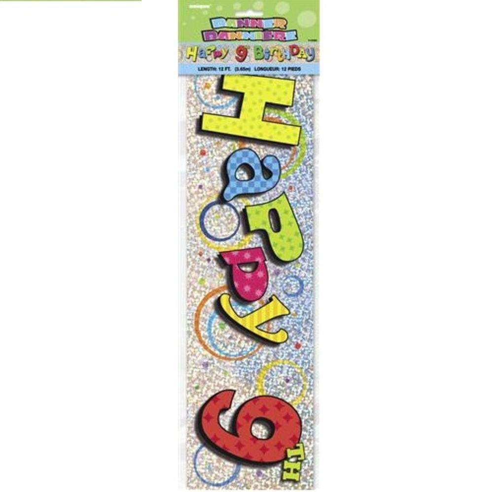 Happy 9th Birthday 12ft Party Banner