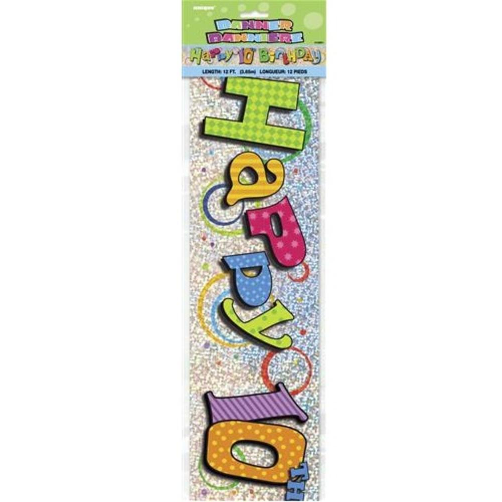 happy 10th birthday 12ft party banner banners love kates