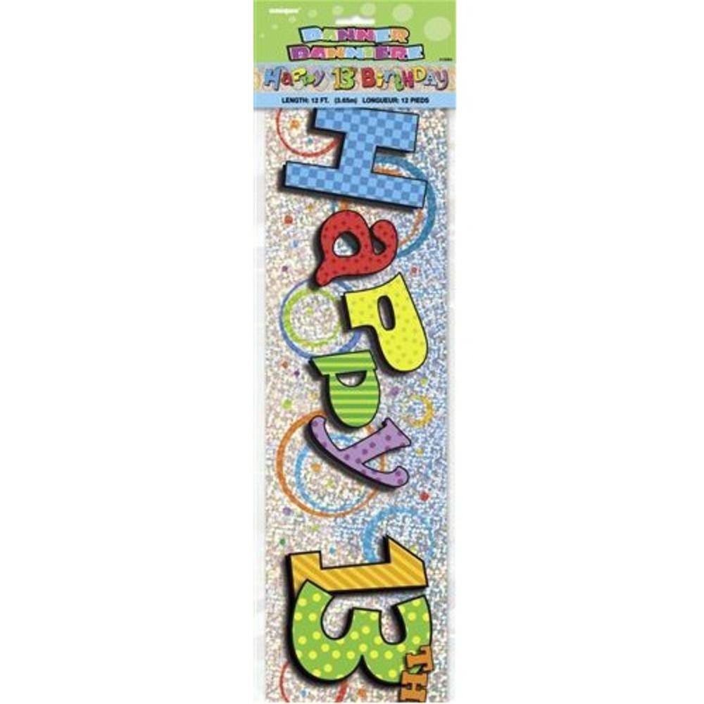 Happy 13th Birthday 12ft Party Banner