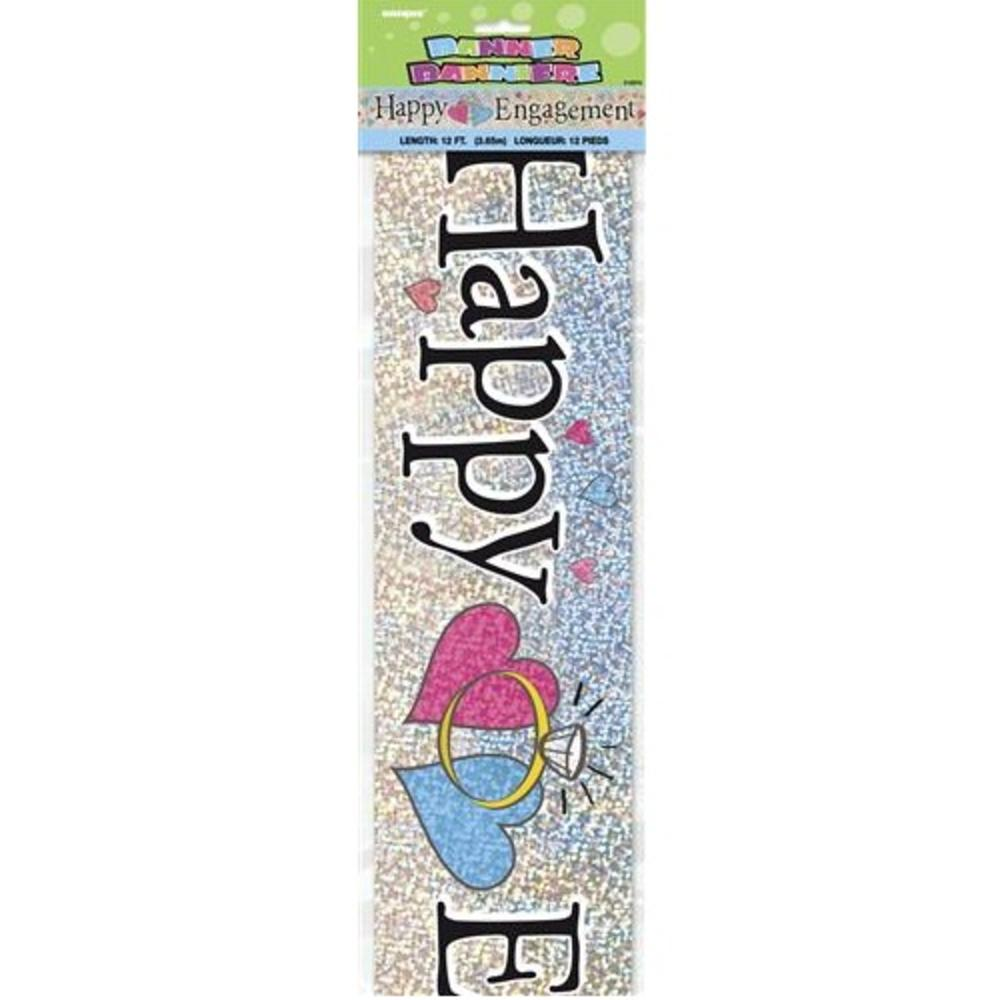 Happy Engagement Holographic 12ft Party Banner