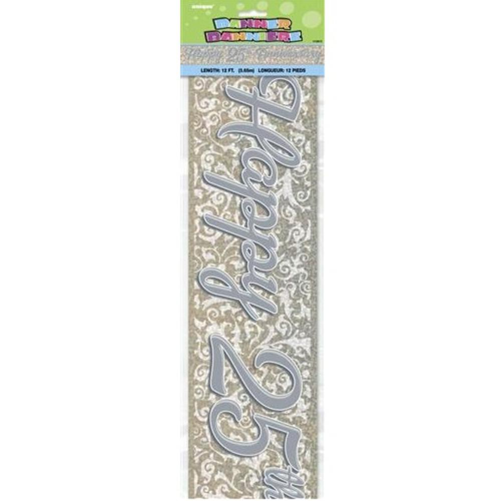 Happy 25th Silver Anniversary 12ft Party Banner