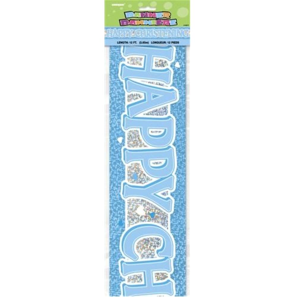 Blue Happy Christening 12ft Party Banner