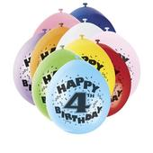 Pack of 10 Happy 4th Birthday Party Balloons  Air Fill