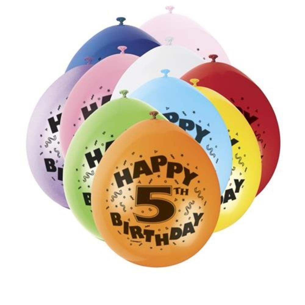 Pack of 10 Happy 5th Birthday Party Balloons  Air Fill