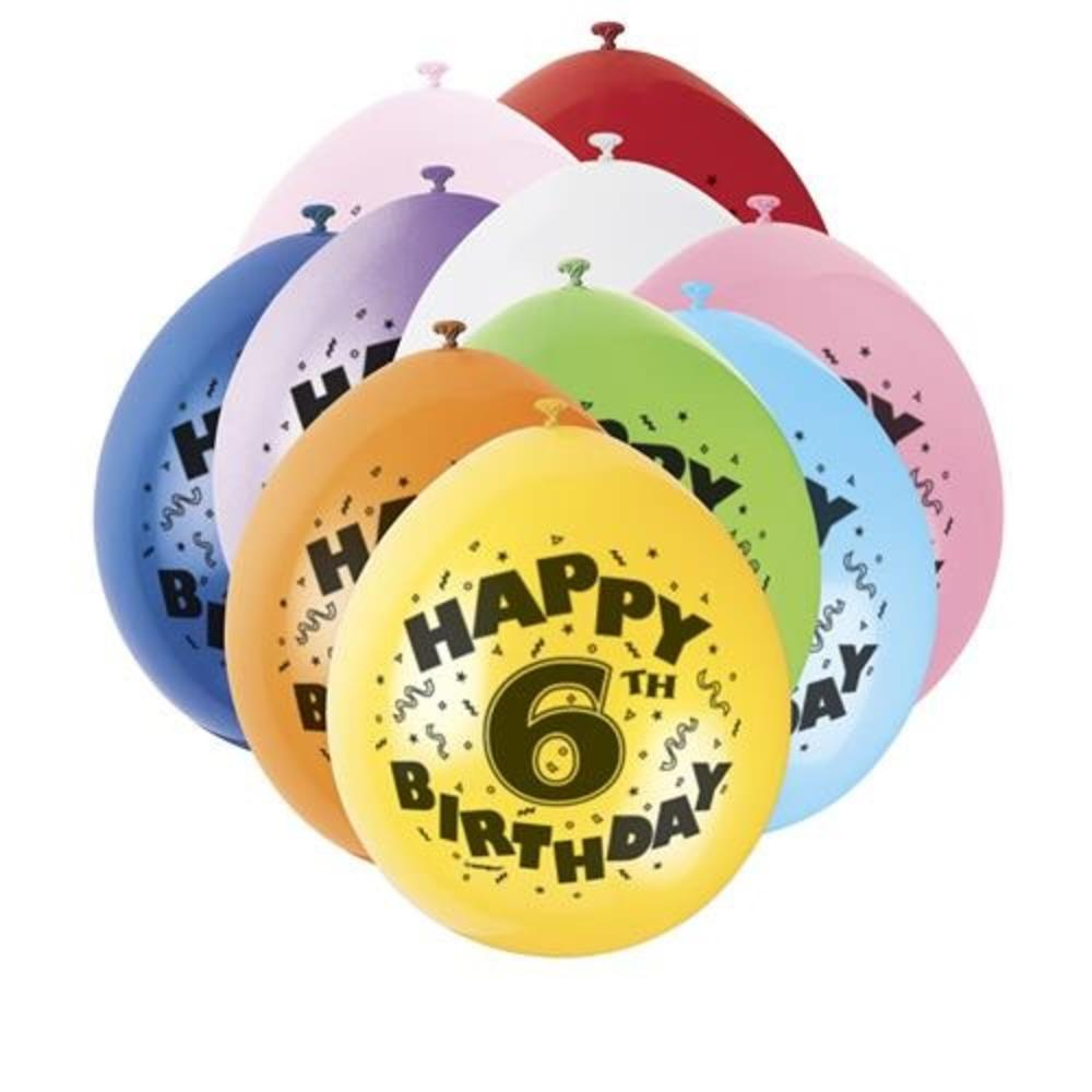 Pack of 10 Happy 6th Birthday Party Balloons  Air Fill