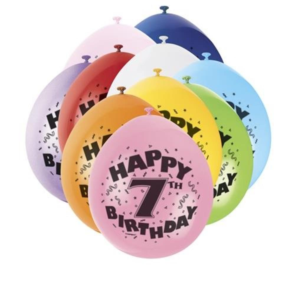 Pack of 10 Happy 7th Birthday Party Balloons  Air Fill
