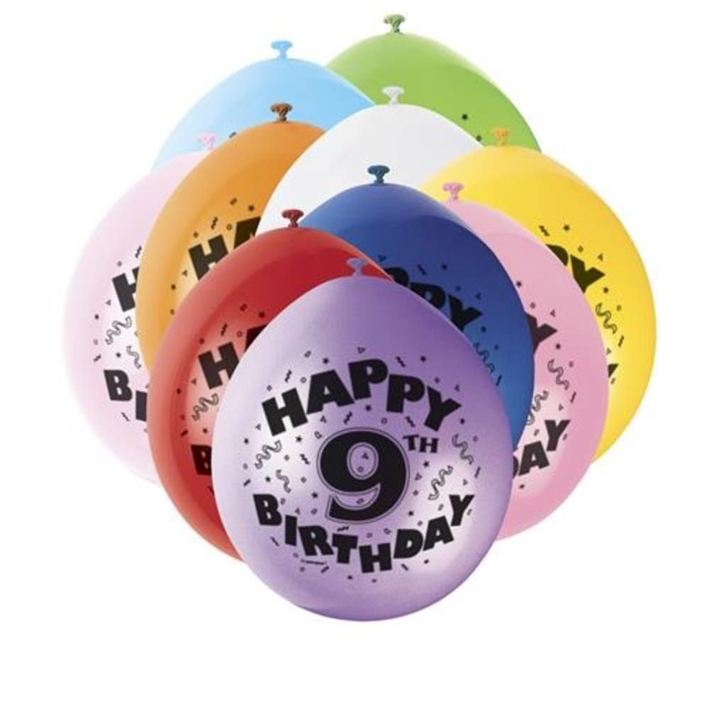 Pack Of 10 Happy 9th Birthday Party Balloons Air Fill