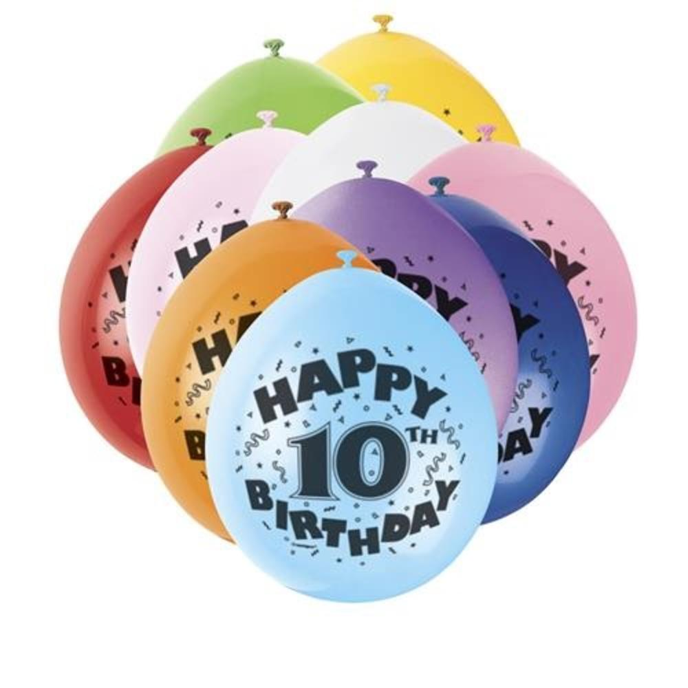 Pack Of 10 Happy 10th Birthday Party Balloons Air Fill