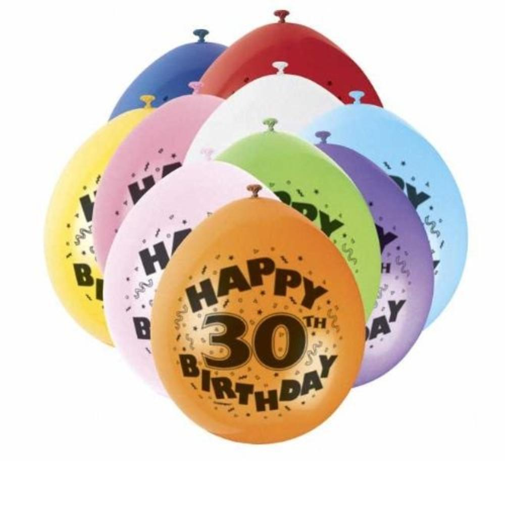 Pack of 10 Happy 30th Birthday Party Balloons  Air Fill