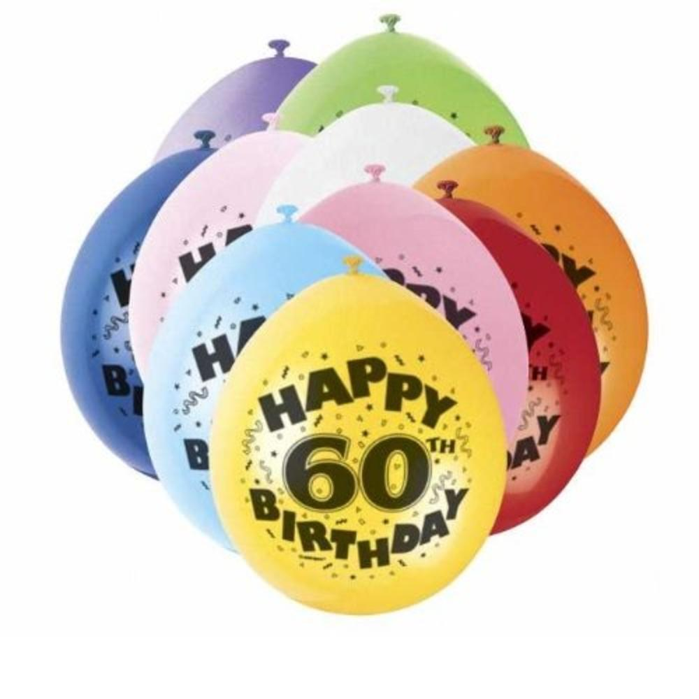 Pack of 10 Happy 60th Birthday Party Balloons  Air Fill
