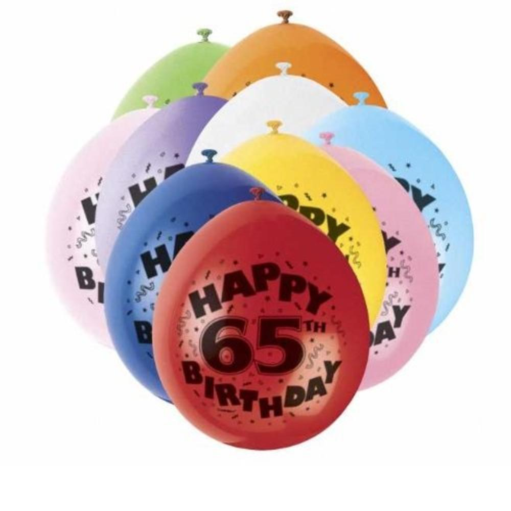 Pack Of 10 Happy 65th Birthday Party Balloons Air Fill