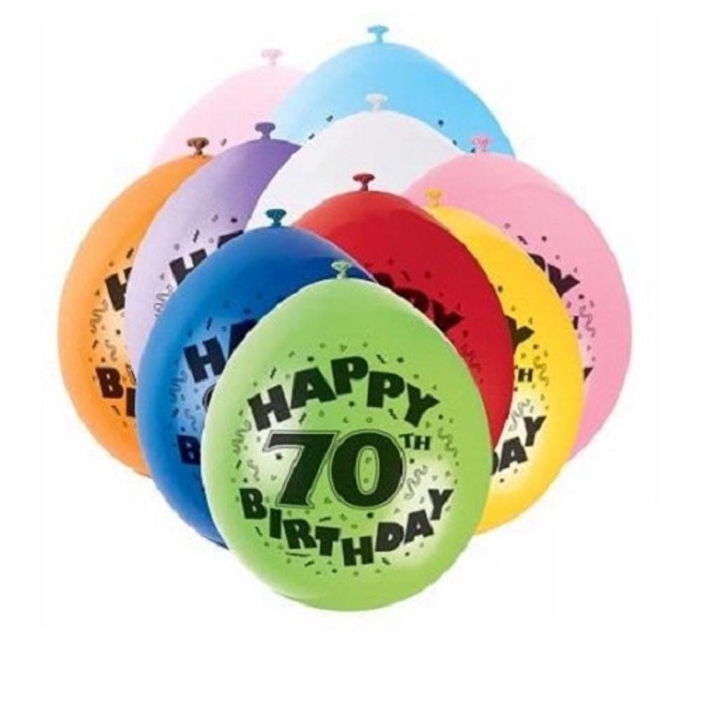 Pack Of 10 Happy 70th Birthday Party Balloons Air Fill