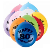 Pack of 10 Happy 80th Birthday Party Balloons  Air Fill
