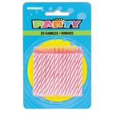 Pack of 24 Pink & White Birthday Candles