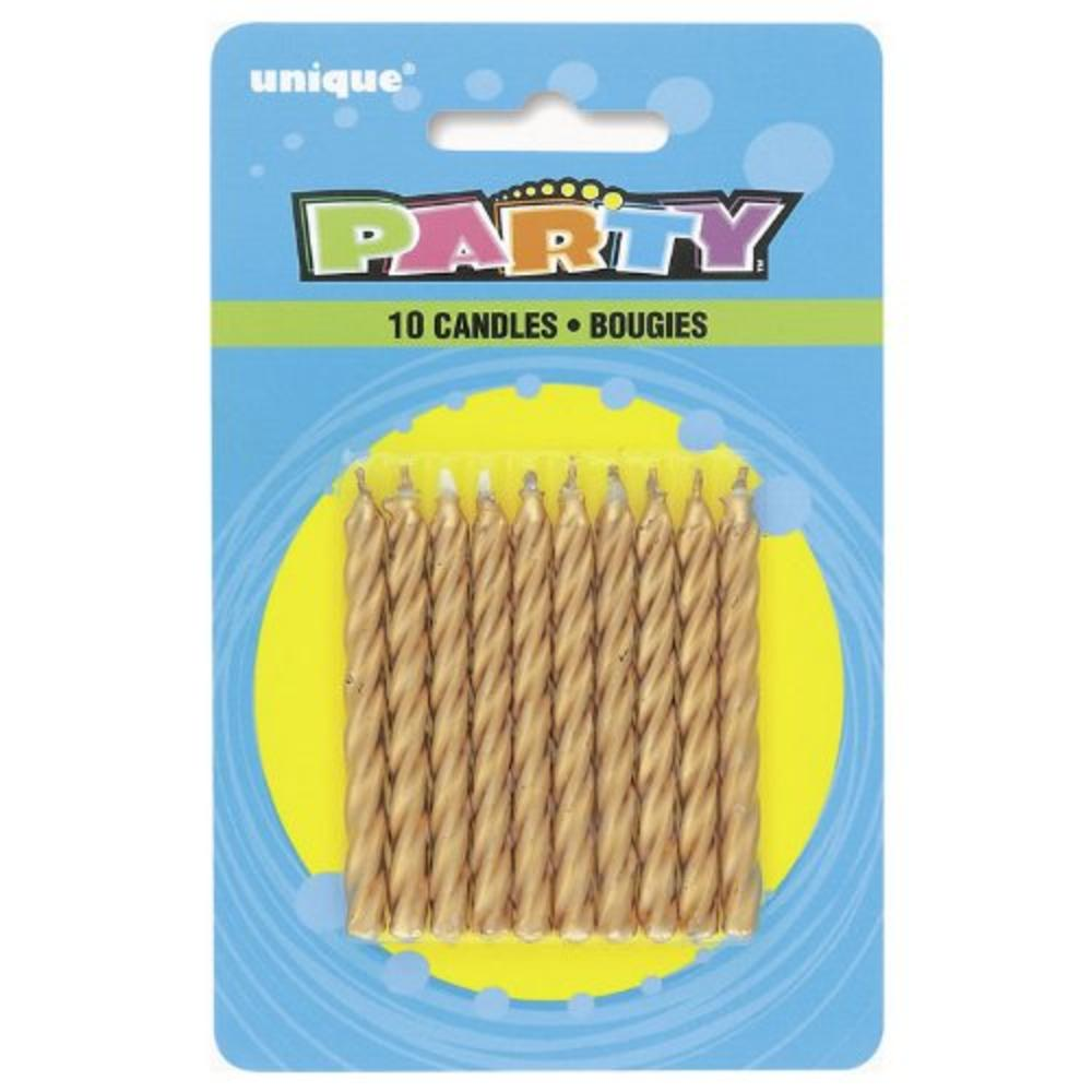 Pack of 10 Gold Spiral Birthday Candles
