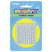 Pack of 10 Silver Spiral Birthday Candles