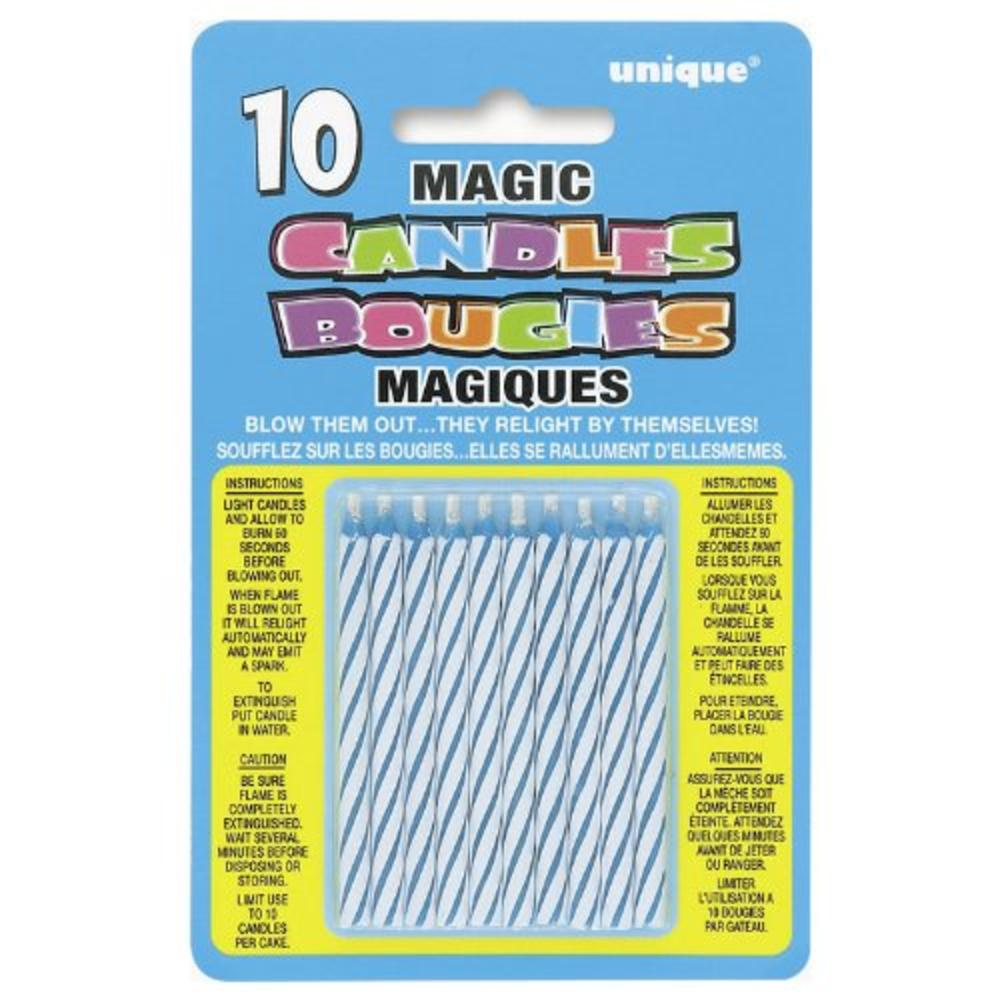 Pack of 10 Blue Magic Birthday Candles