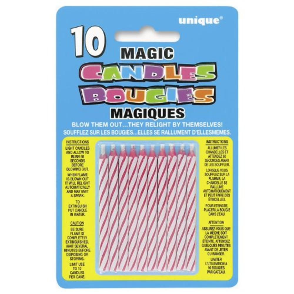 Pack of 10 Pink Magic Birthday Candles