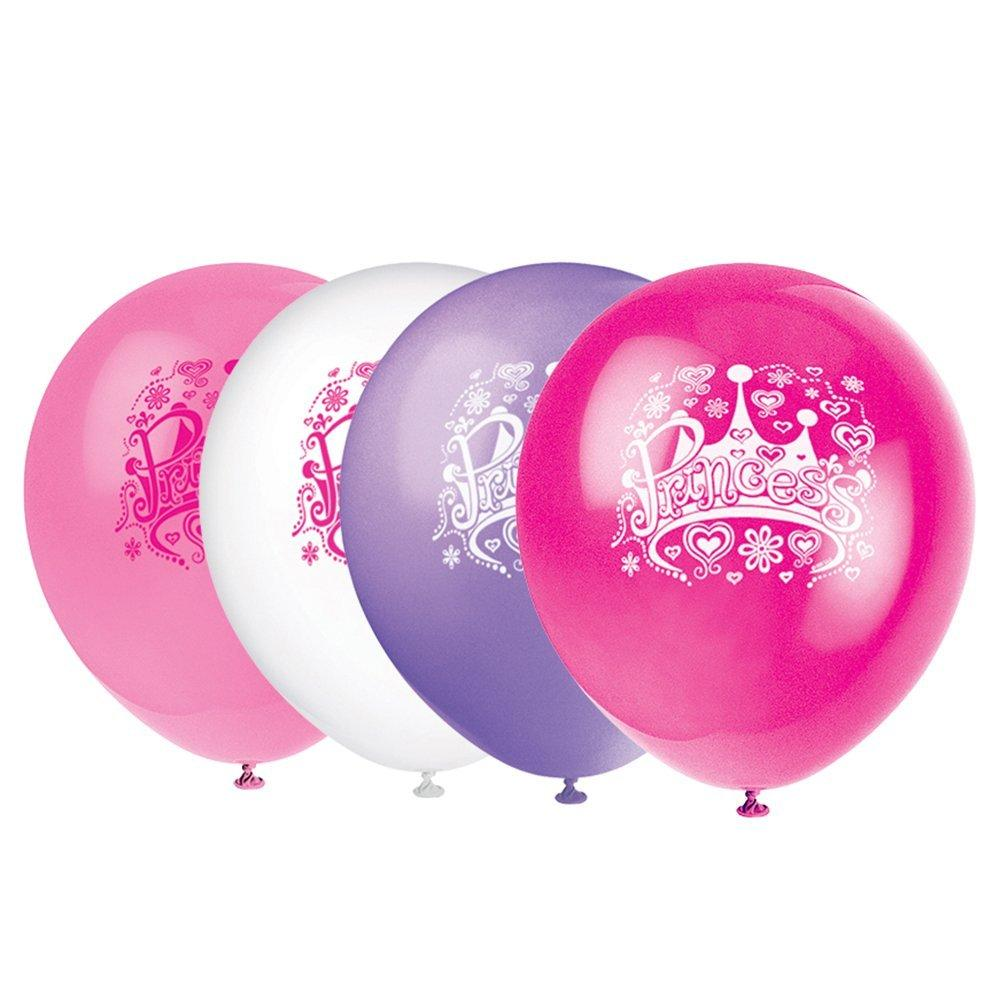Pack of 8 Mixed Princess Birthday Party Balloons Air Or Helium