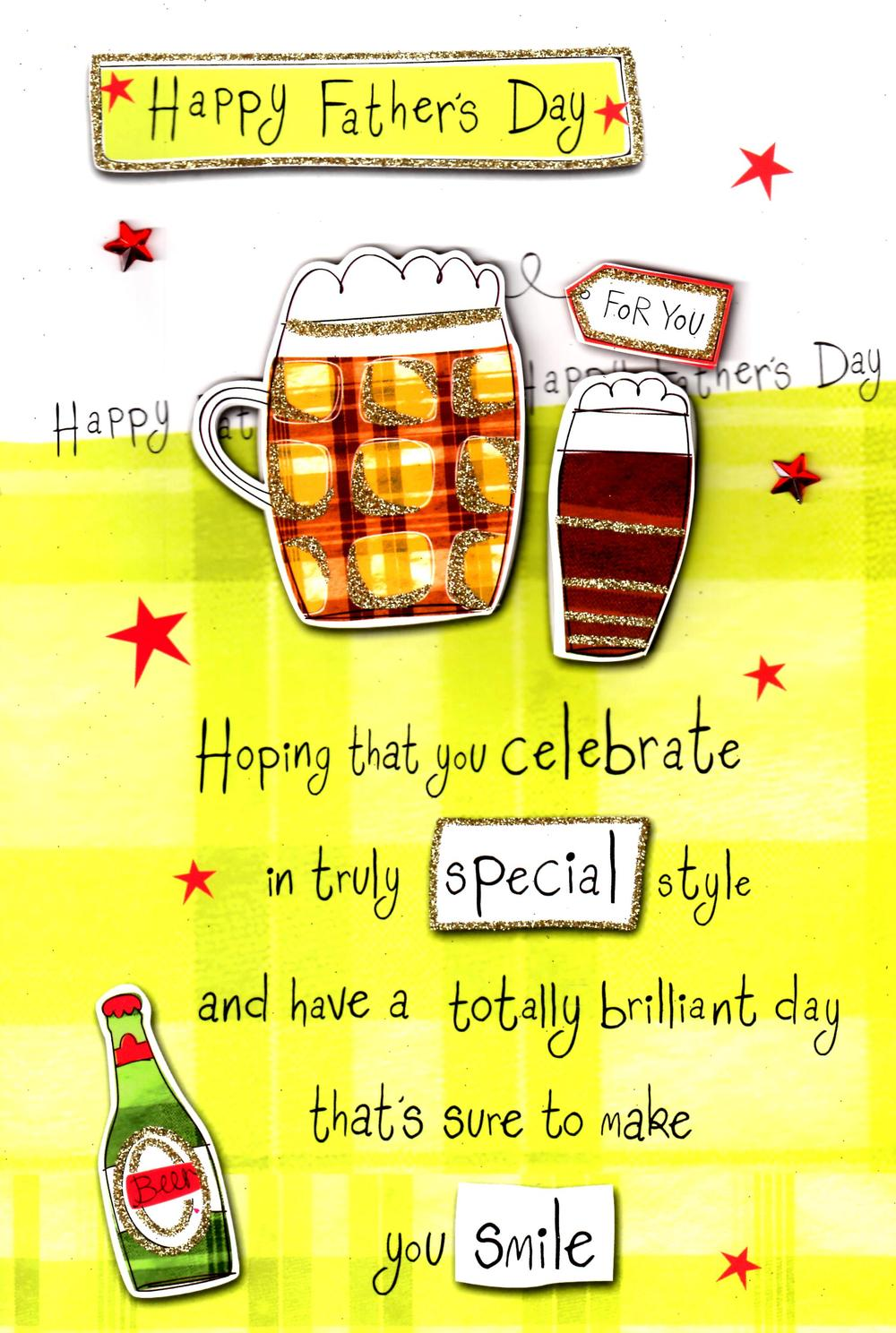 Large Happy Father's Day Hand-Finished Beer Card