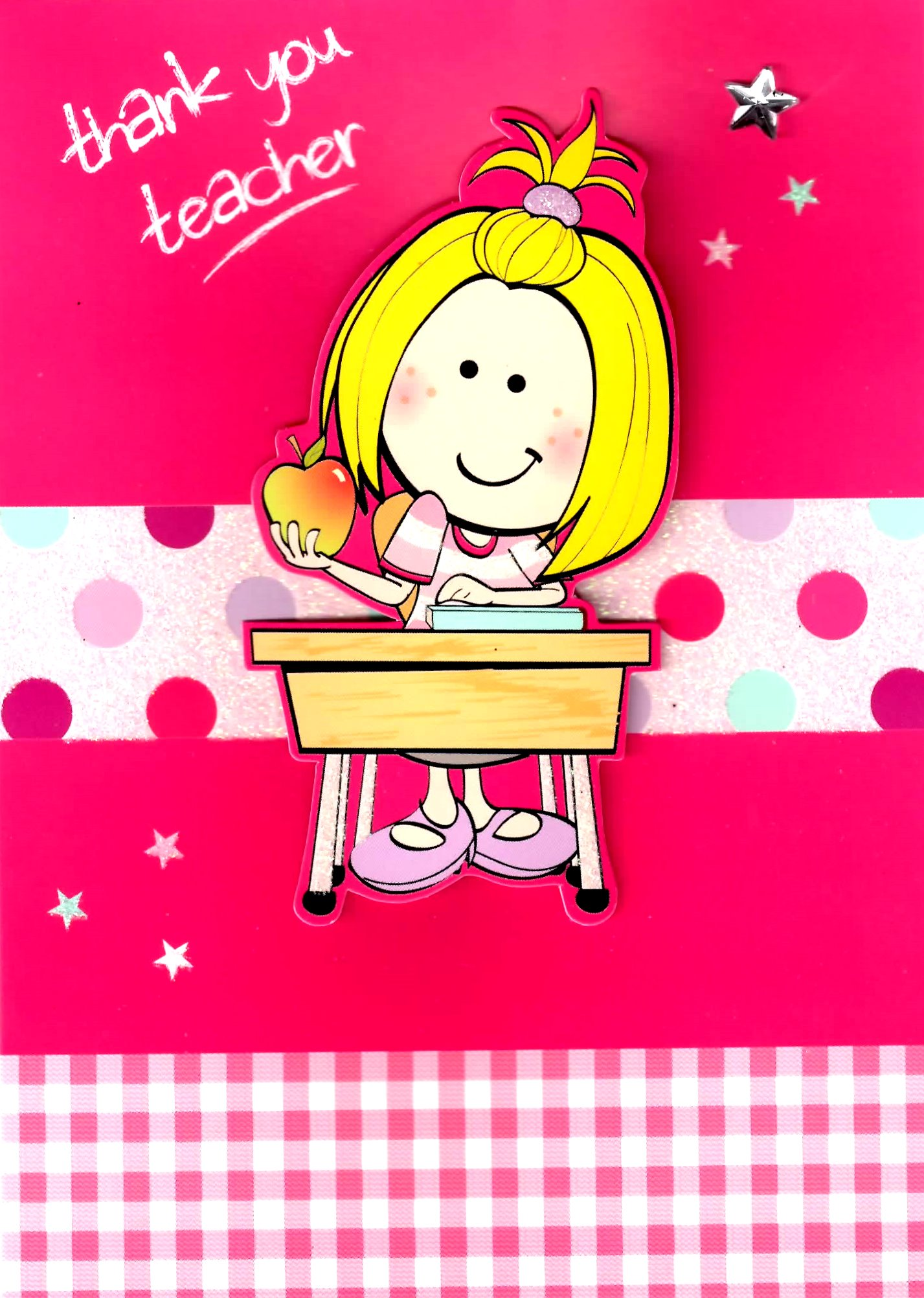 Girls Thank You Teacher Greeting Card Teachers Apple Teaching