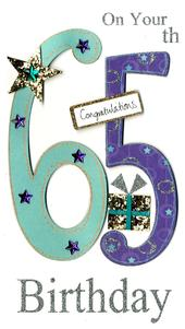 Gorgeous 65th Age 65 Birthday Greeting Card