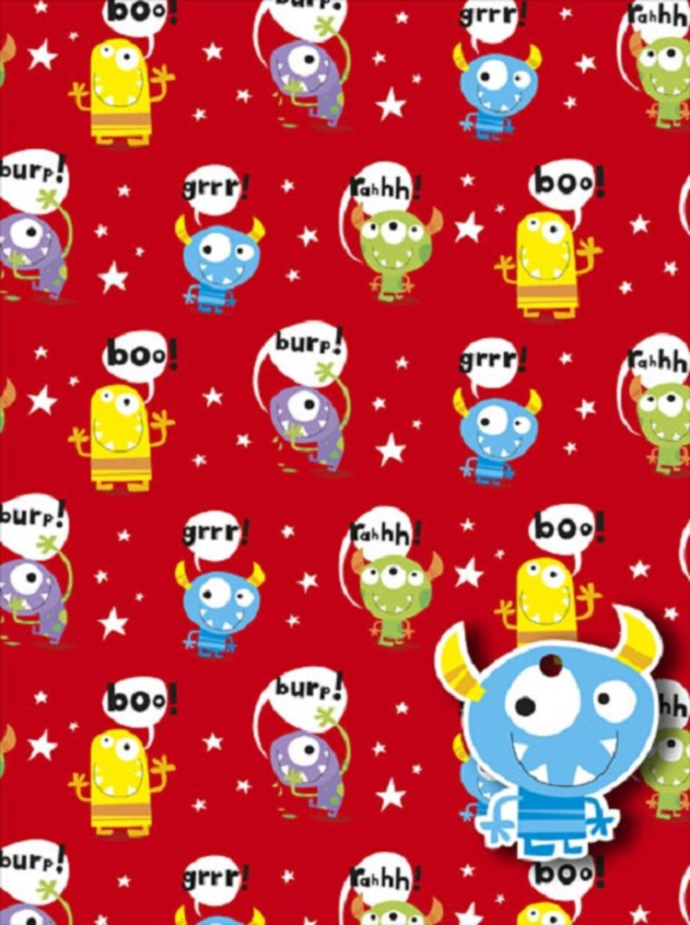 Childrens Monster Wrapping Paper Pack Wrap Set