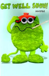 In Hospital Get Well Soon Green Monster Greeting Card