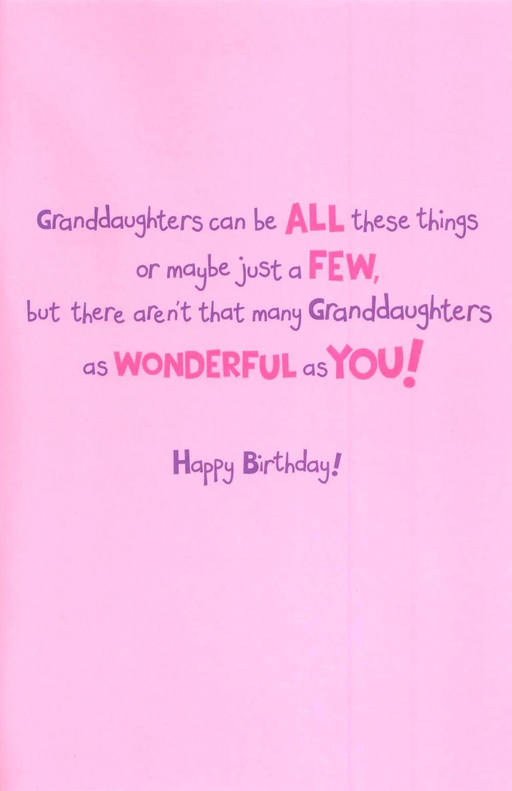 Cute Wonderful Granddaughter Birthday Greeting Card Thumbnail 1 2