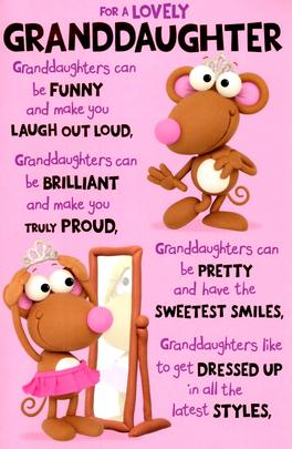 Cute Wonderful Granddaughter Birthday Greeting Card