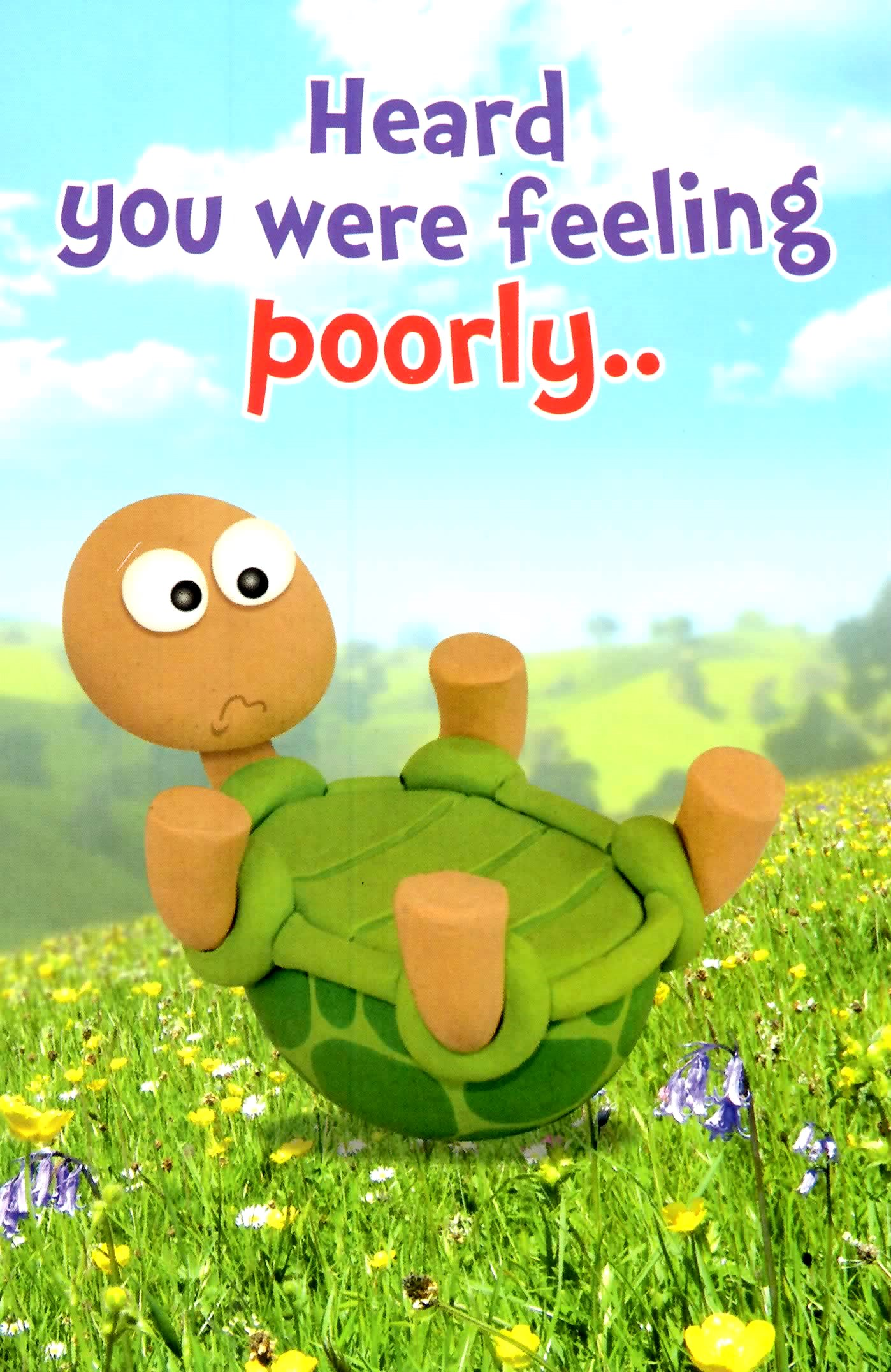 Cute Tortoise Feeling Poorly Get Well Soon Greeting Card Cards