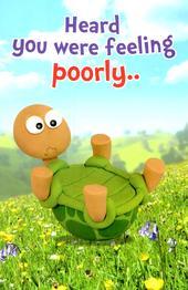 Cute Tortoise Feeling Poorly Get Well Soon Greeting Card