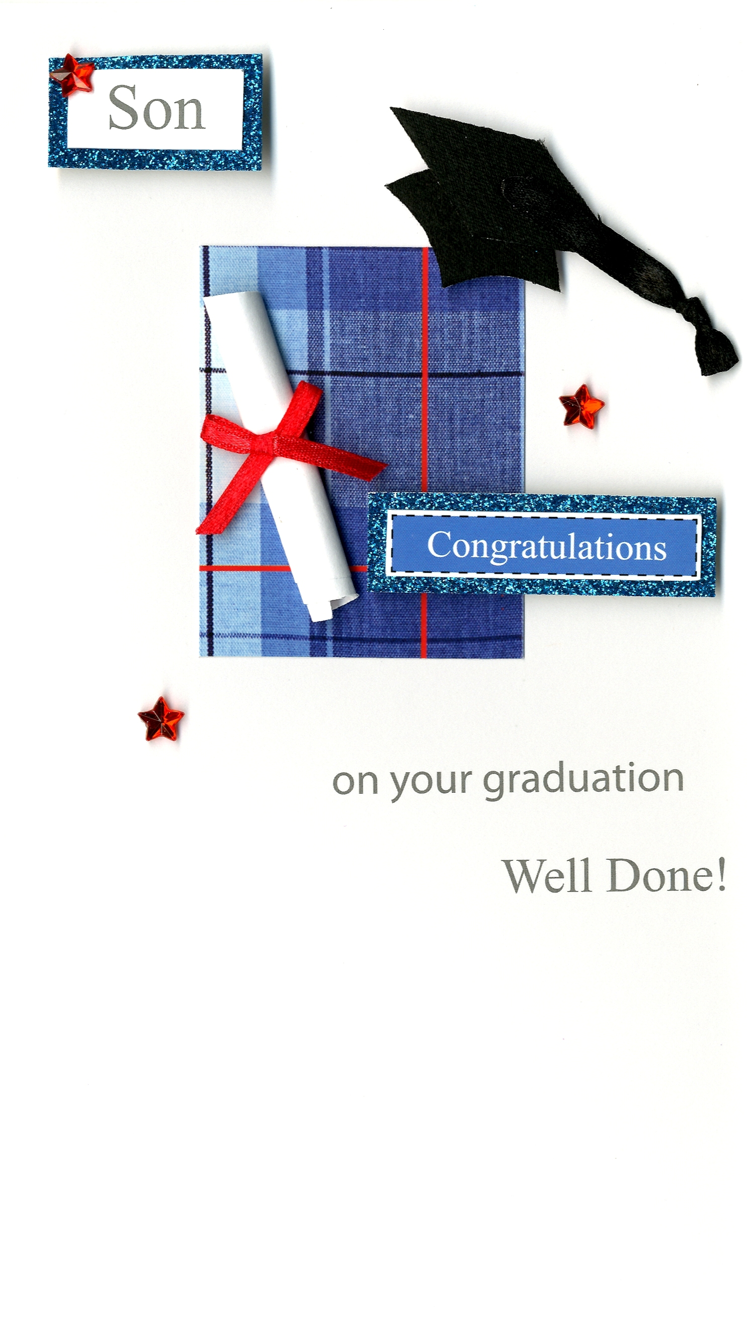 Congratulations Son Graduation Greeting Card Hand Finished Cards