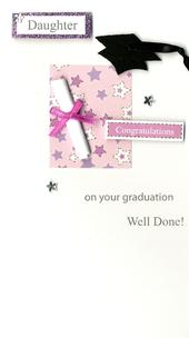Congratulations Daughter Graduation Greeting Card Hand-Finished