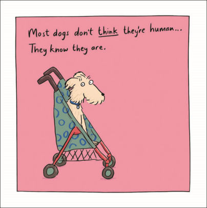 Dogs Are Human Humour Greeting Card Blank Inside