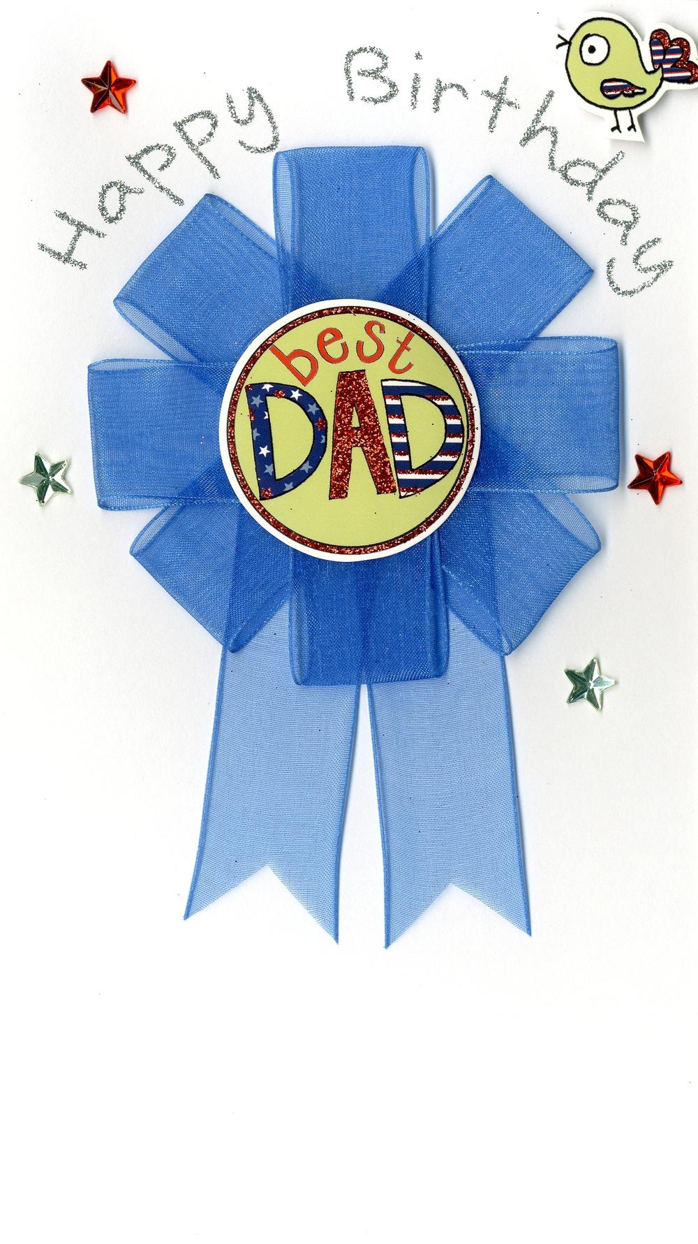 Best Dad Detachable Rosette Birthday Greeting Card