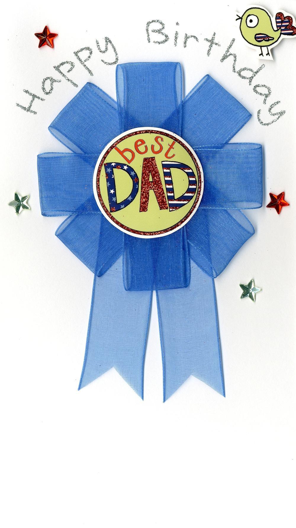 Best Dad Detachable Rosette Birthday Greeting Card