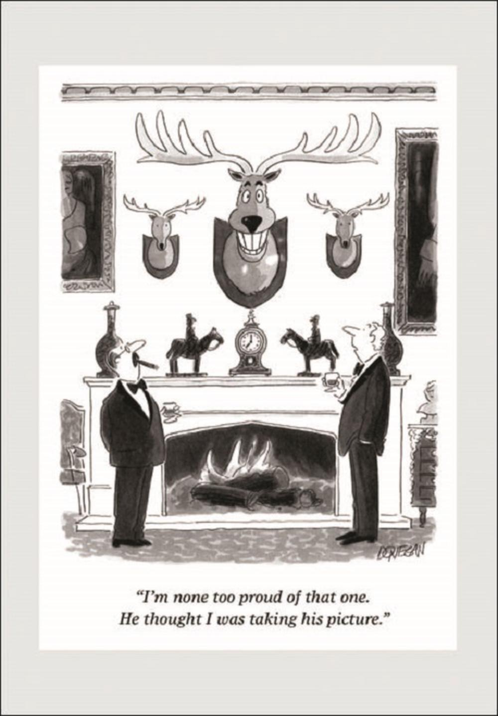 Punch Stags Head Cartoon Humour Greeting Card