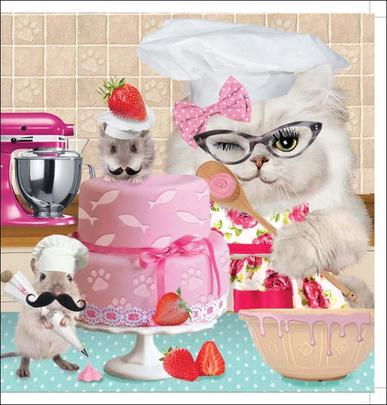Pussycat Bake Off Square Greeting Card