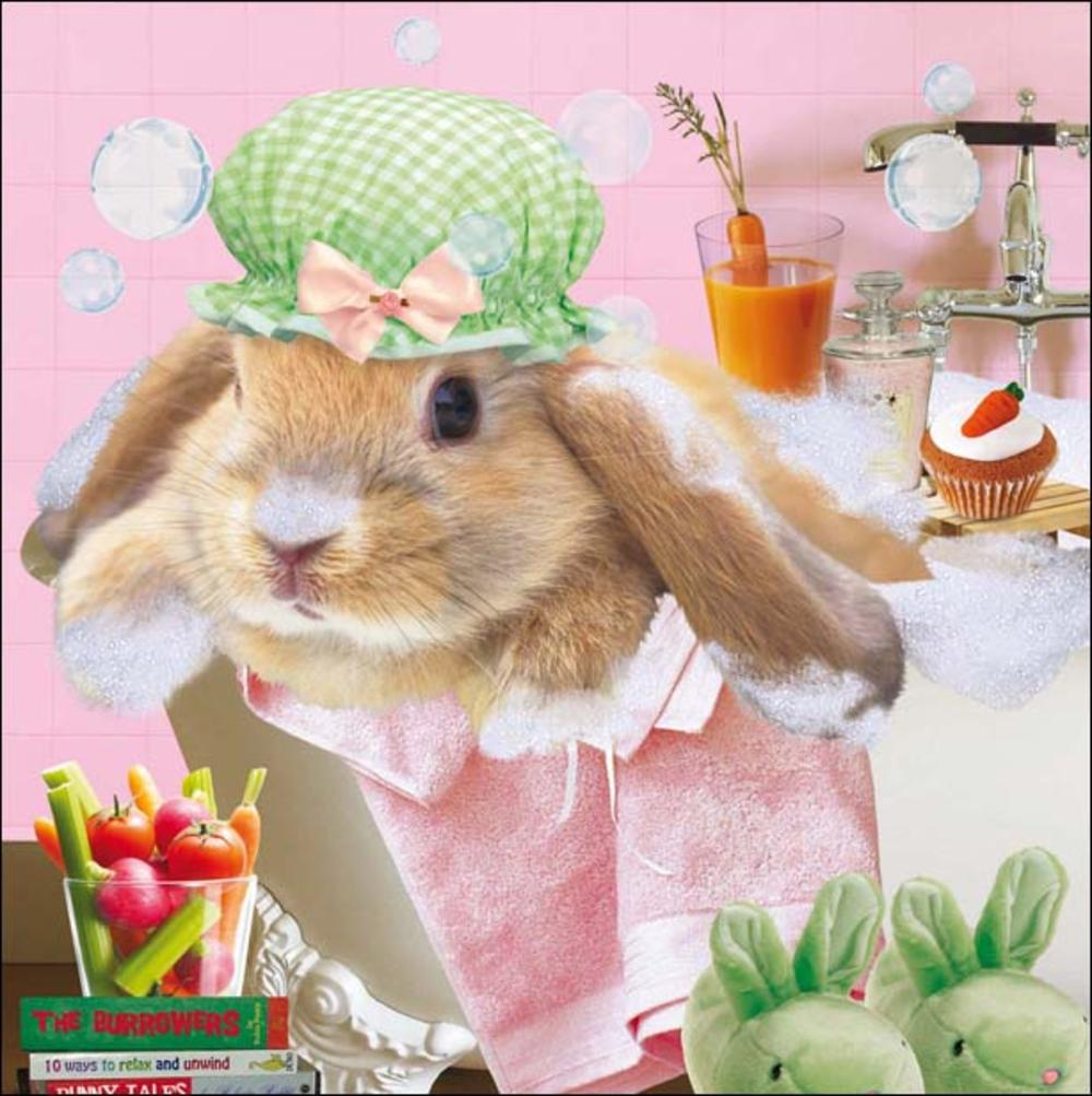 Bunny Bubbles Square Greeting Card