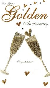 Golden 50th Anniversary Luxury Champagne Greeting Card