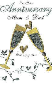 Mum & Dad Anniversary Luxury Champagne Greeting Card