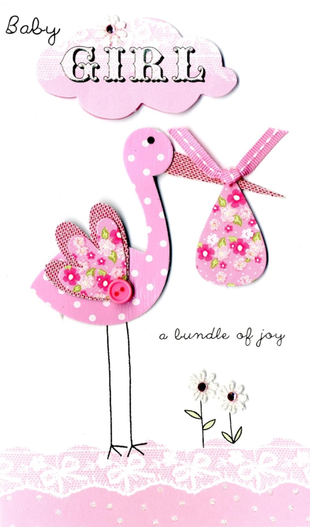 New Baby Girl Stork Luxury Champagne Greeting Card
