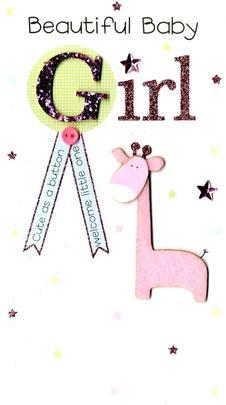 Beautiful New Baby Girl Luxury Champagne Greeting Card
