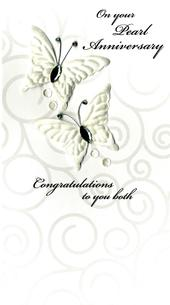 Pearl 30th  Wedding Anniversary Luxury Champagne Greeting Card