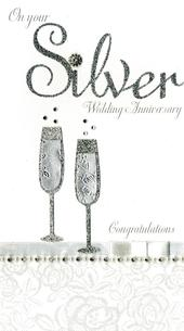 Silver 25th Anniversary Luxury Champagne Greeting Card