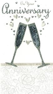 On Your Anniversary Pretty Champagne Greeting Card